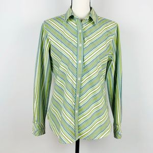 Foxcroft Green Striped Button Down Career Blouse